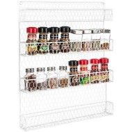 4 Tier White Country Rustic Chicken Wire Pantry, Cabinet or Wall Mounted Spice Rack Storage Organizer