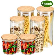 YULEER Airtight Food Storage Containers, Glass Jars with Lids,Glass Jar for Serving Candy, Cookie, Rice,Food - Set of 6