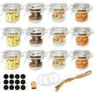 Folinstall 12 Pcs 8 oz (250ml) Glass Jars with Airtight Lids, Small Mason Jars With Hinged Lids for Herbs, Spices, Art. Extra 3 Replacement Silicone Gaskets, Chalkboard Labels and Tag Strings Included