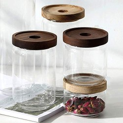Large Capacity Glass Bottle Modern Snacks Candy Plate Glass Candy Jar Creative Candy Storage Cans With Wood Lid European Storage Tank Creative Sugar Cans Crystal Storage Tank Ornaments (Size : M)