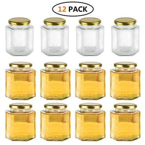 Encheng 16 oz Clear Hexagon Jars,Glass Jars With Lids(Golden),Mason Jars For Herbs,Foods,Jams,Liquid,Small Spice Jars For Storage 12 Pack, Packaged with polyform case for each unit