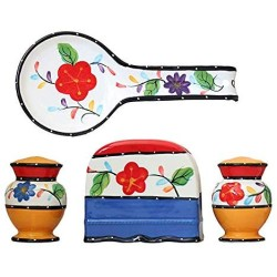 ACK Tutti Frutti Viva Collection Hand Painted Ceramic Table Top Set, 89525/28 by