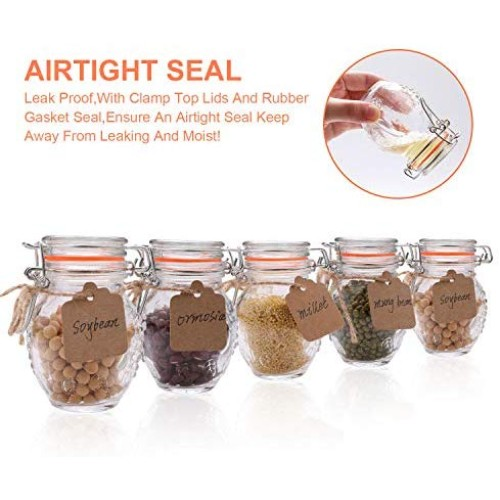 Small Spice Jars,Encheng Glass Jars With Airtight Lids 4 oz And Leak Proof Rubber Gasket,Small Mason Jars With Hinged Lids For Kitchen,Mini Storage Containers With Twine And Tags Labeling 30 Pack