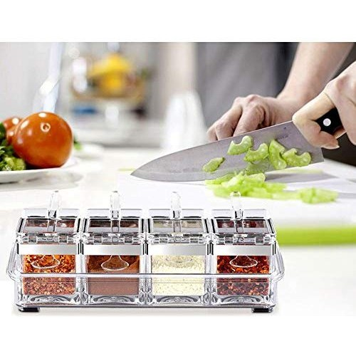 TOAO 4 Piece Separable Acrylic Spice Rack Jars & Rack, Spice Container,Seasoning Box Spice Pots with Spoons-Storage Container Condiment Jars--New Update Independent Cover and Non-slip Rubber