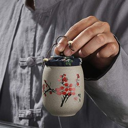 1Pcs Tea Jar Caddy For Puer Crude Pottery Oolong Tea Chinese Porcelain Ceramic Jar Tea Canister Storage Chest,B