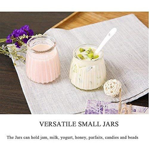 Folinstall 20 Pcs 4 oz Glass Jars with Lids - Yogurt Container - Yoghurt Jars for Jam, Spices, Gift Holder. Extra 20 Cork Lids, Chalkboard Labels, Tag Strings and 20 Wooden Spoons Included
