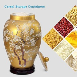 Airtight Food Storage Containers Bins Large With Lids, Ceramic Pottery Cereal Containers Canister Cookie Jar For Kitchen Pantry Organization Flour Rice Candy Bulk, 15L, 25L, Yellow (Size : 25L)