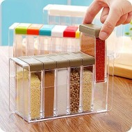 Set of 6 Spice Shaker Seasoning Bottle Jar Condiment Storage Container with Tray for Salt Sugar Cruet, Color Random Delivery