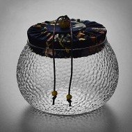 Shelf Floating Dragon Scales Pattern Storage Jar Handmade Glass Tea Pot With Wooden Cover Storage Tank 520ml. (Color : Blue)