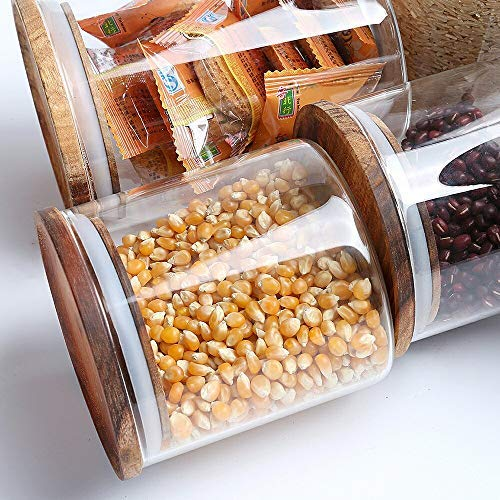 ARC USA Clear Glass Storage Jars with Wood Lids Wooden Lid Glass Canisters Airtight Lids Sealed Jars for Storage Tea Coffee Beans Sugar Salt Cookies and Candy (18floz)