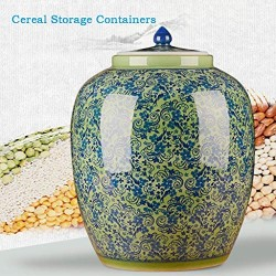 Airtight Food Storage Containers Bins Large With Lids, Ceramic Pottery Cereal Containers Canister Cookie Jar For Kitchen Pantry Organization Flour Rice Candy Bulk, 15L, 42x32cm