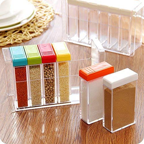 YIXIN Set of 6 Spice Shaker Seasoning Bottle Jar Condiment Storage Container with Tray for Salt Sugar Cruet, Color Random Delivery