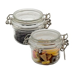 100ml Plastic Jars with lids, wide mouth, Bulk Pack of 2, Clear Plastic Round Jar & White Lid,-Made in USA
