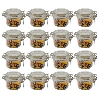 100ml Round Mini PET Jars with RED Lids Storage Jar and Labels (Pack of 16) Food Jar