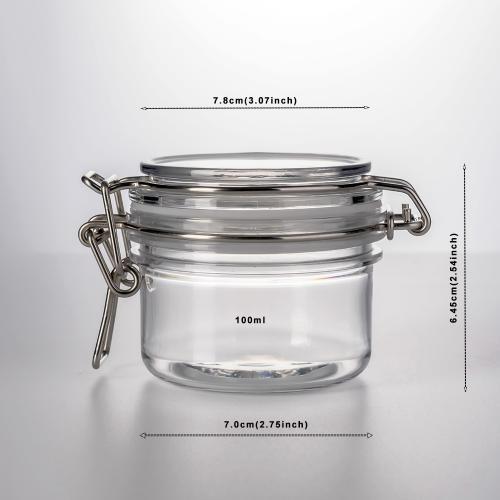 100ml Round Mini PET Jars with RED Lids Storage Jar and Labels (Pack of 16) Food Jar
