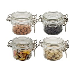 100ml  Small PET Jars With Airtight Lids, PET Spice Jars - Leak Proof Rubber Gasket and Hinged Lid for Home and Kitchen, Small PET Containers with Lids for Party Favors (4 Pack)