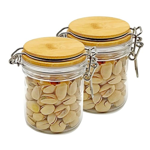(2 Pack) 250ml Clear PET Jar with Bamboo wooden Cap,plastic Pet Jar Replacement