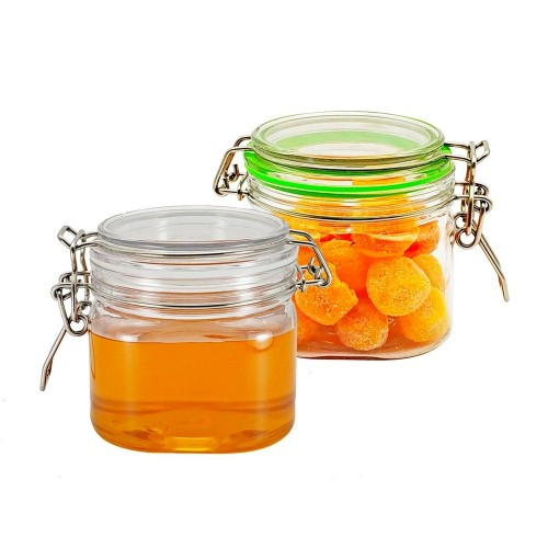 400ml 2pcs Square Pet Food Storage Replacement Containers with Lids Set of Two Honey Pet Jars