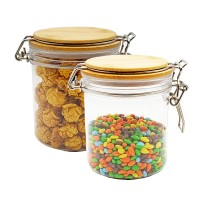 Creative Round Transparent Sealed Can Kitchen Condiment PET Jar Cereals Tea Food Honey Storage Bottle Tea Container Can Reused,500Ml 2pcs