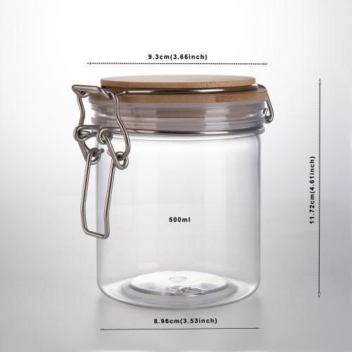 Creative Round Transparent Sealed Can Kitchen Condiment PET Jar Cereals Tea Food Honey Storage Bottle Tea Container Can Reused,500Ml 2pcs