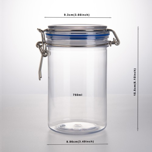 Jar Bottle World Sealed jar PET with lid Household PET Jars/Storage jar Assorted Collection of airtight Vintage Dry Food Containers 750ml 2pcs(0.75L) (Size : 750ml1)