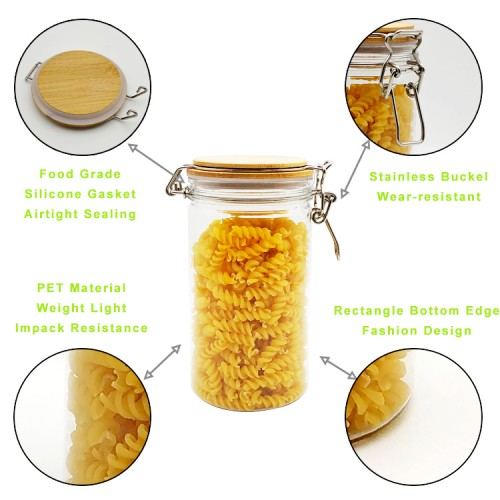 1000Ml 2pcs Storage With Bamboo Jar Lid Spices Tank Container Kitchen Food Bottle Coffee Tea Caddy,L Sealed Jar