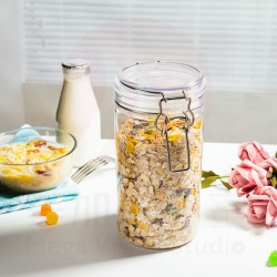 1.5l Clear Empty Plastic Jars  - Pack of 2 Large BPA Free Airtight Leak Proof Canisters -PET Jar Food Grade Refillable Holder ? Ideal Containers for Kitchen and Home Storage
