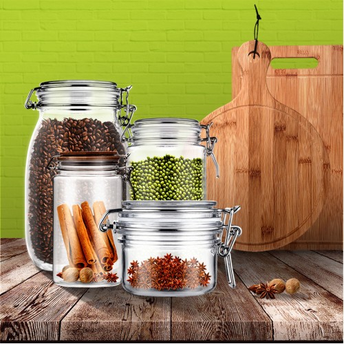 800ml 3pcs Square Kitchen Sugar Coffee Tea Food Canister Plastic Pet Storage Jar Replacement and Bottles set With Bamboo lids