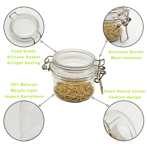 3 pcs of Different Size Mason Jars Canning PET Jars PET Smoothies Jars with Lids for Drinking and Storage Reusable Container for Juice Milk Bulk Food Coffee Round Jars (Size : A set of 3 pcs)