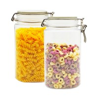 1550ml 2pcs Clear Food Grade Plastic Pet Food Storage Jar Canister Container replacement with Airtight Locking Clamp Lid