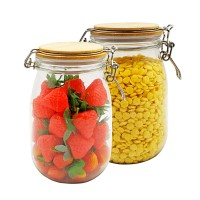 2 Ser of PET Food Jar with Lid all Wide Mouth Mason Jar Lids For Storage,Canning Jars For Caviar,Herb,Jelly,Jams,Honey
