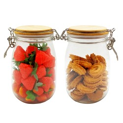 1150ml 2pcs Honey Candy Cookie Food Storage Plastic Pet Jar With Airtight Bamboo Lid