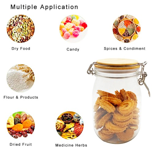 1200Ml PET Jar Kitchen Food Bulk Bamboo Containers Set For Spices Dried Fruit Storage Can Salad Bowl Box bamboo lid