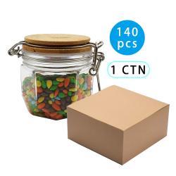 140pcs 200ml Bamboo Lid PET Airtight Canister Storage Bottles Jars Grains Tea Leaf Coffee Beans Candy Food Jar
