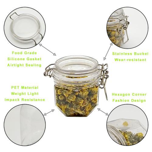 200ml 6packs High quality wholesale honey airtight jar, hexagon honey jar