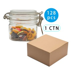 128pcs 200ml Airtight Squar Plastic Jar, Spice PET Jar With Leak Proof Rubber Gasket And Hinged Lid Compatible For Home
