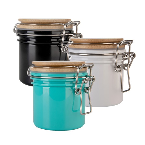 3pcs PET Jar  Sealed Can  Food Storage Tank Airtight PET Storage Tank Closed PET Bottle With Bamboo Lid For Candy, Biscuits, Rice, Sugar, Flour, Pasta, Nuts