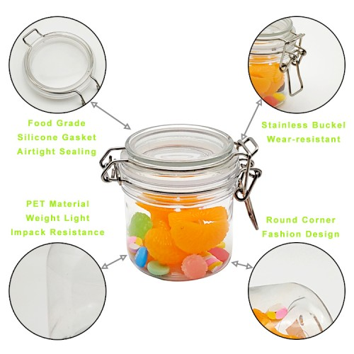 Jar Bottle World Airtight Food Storage Containers, PET Jars with Lids for Serving Candy, Cookie, Rice,Food - Set of 6