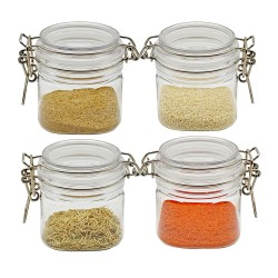 250ml 4 packs Mini Jar Set -Clear BPA Free PET Storage Containers -Airtight Canister Set for Spice Storage