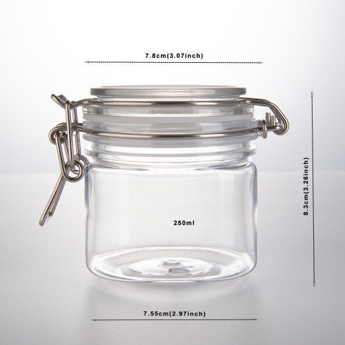 250ml Small PET Jars With Airtight Lids, PET Spice Jars - Leak Proof Rubber Gasket and Hinged Lid for Home and Kitchen, Small PET Containers with Lids for Party Favors (6 Pack)