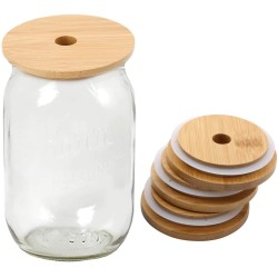 Wide Mouth and Regular Mouth Bamboo Mason Jar Lids with Straw Hole Reusable Bamboo Caps Leak-Proof Glass Canning Drinking Storage Jars Lid Covers 1pcs