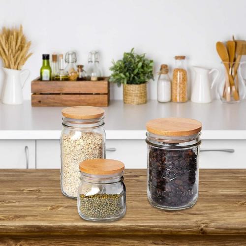 Bamboo Wooden Mason Jar Lids, Reusable Bamboo Mason Canning Lids Compatible with Wide Mouth and Regular mouth Mason Jar Canning Jar 1pcs