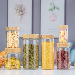 Dia 98mm 700ml, 900ml, 1250ml Glass Food Storage Containers Set,Airtight Food Jars with Bamboo Wooden Screw Lids -  Kitchen Canisters For Sugar,Candy, Cookie, Rice and Spice Jars