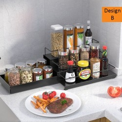 Multi-layer Metal Spice Rack Organizer, adjustable stepper and draws. Compact design