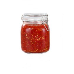 1000ml Clear Glass Kitchen Canisters and Canning Jars with Airtight Bail & Trigger Hermetic Seal Clear Glass Lids