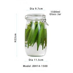 1500ml Glass Kitchen Storage Canister Mason Jars with Lids, Airtight Glass Canister with Hinged Lid,Perfect for Kitchen Canning Cereal,Pasta,Sugar,Beans