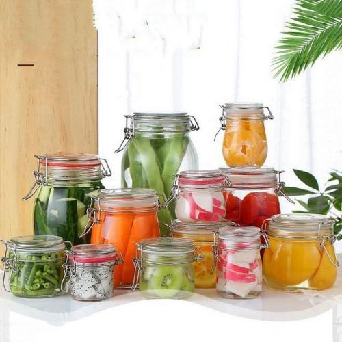   Storage Bottles & Jars   New 1000ml  Mason Borosilica Glass  Jar Kitchen Food Bulk Container Set For Spices Dried Fruit Storage Can Salad Bowl Box   by HUDITOOLS   4 PCs