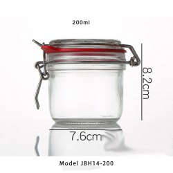 200ml Glass Kitchen Storage Canister Mason Jars with Lids, Airtight Glass Canister with Hinged Lid,Perfect for Kitchen Canning Cereal,Pasta,Sugar,Beans