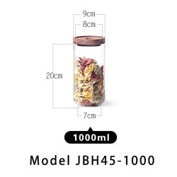 1000 ml Glass Coffee Containers,  Kitchen Serving Food Storage Canister with Sealed Wooden Lid, BPA-Free Clear Glass Jar for Tea Leaves, Powder, Spice,Weed