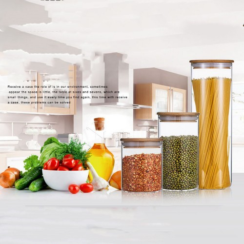 Dia 85mm H 110mm 470ml Glass Food Storage Containers Set,Airtight Food Jars with Bamboo Wooden Lids -  Kitchen Canisters For Sugar,Candy, Cookie, Rice and Spice Jars